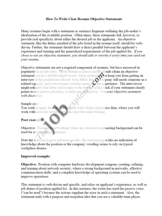 Example Of A Good Objective Statement For A Resume