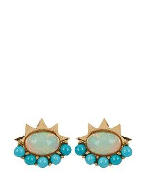 Ileana Makri opal, turquoise & yellow gold earrings