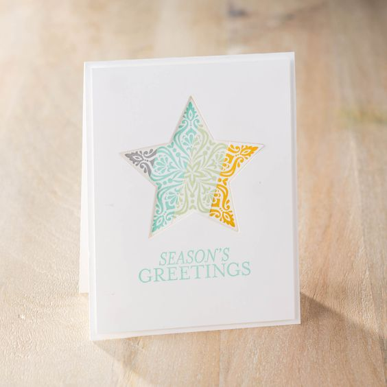Season's greetings, indeed. The Stars Framelits are so fun to use any time of the year. Check out the Big Shot Promotion from Stampin' Up!: Bright Beautiful, Card Class, Birthday Cards, Beautiful Stars, Xmas Cards Stars, Christmas Card, Card Ideas