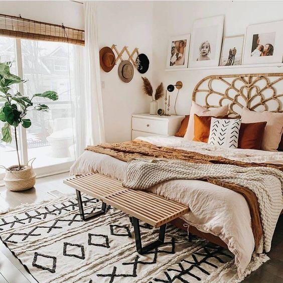 Boho bedroom white burgundy and blush