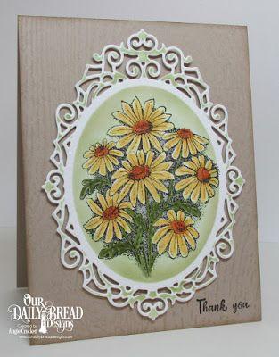 ODBD Custom Ornate Ovals Dies, ODBD Daisy, ODBD Wood Background, ODBD Forever Friends, Card Designer Angie Crockett