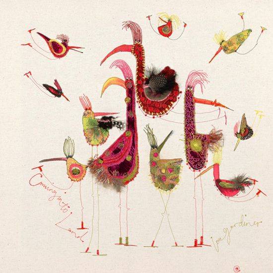 Louise Gardiner - contemporary embroiderer who uses also paint, ink and applique in her work.