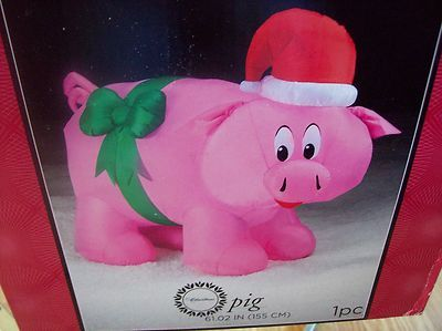 NEW airblown pink pig with green ribbon and red Santa hat inflatable Christmas