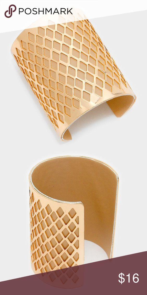 """Diamond Pattern Cuff Bracelet • 3"""" HEIGHT • CUFF • FAUX LEATHER • DIAMOND PATTERN CUTOUT LEATHER LINED CUFF BRACELET Jewelry Bracelets"""