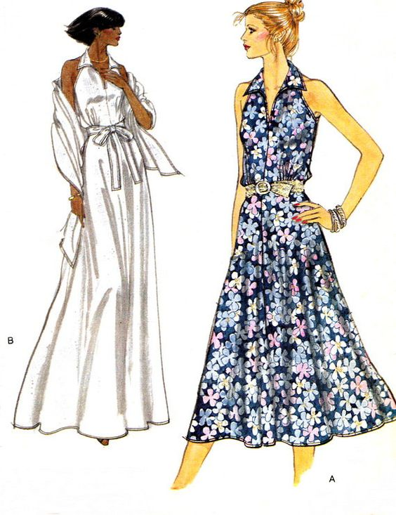 1980s dress pattern vogue 7108 collared sleeveless day or