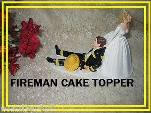 firefighter wedding cake toppers funny wedding reception fireman firefighter custom paint 14267