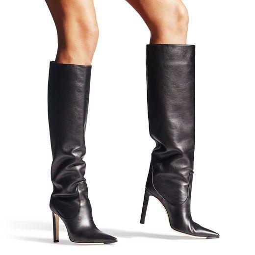 Jimmy Choo Mavis 100 Boots Black Leather Boots Women Womens Designer Boots