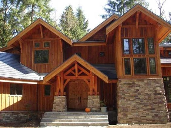 Craftsman style craftsman and columns on pinterest for Craftsman style log homes