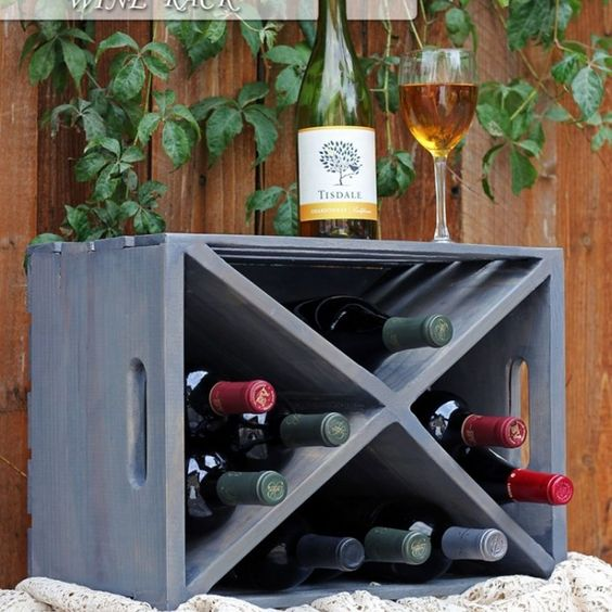 Wood crate turned wine rack awesome crates and wine racks for Crate wine rack diy