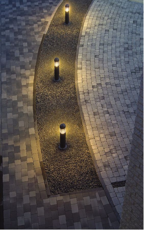 bollard lighting creates soft pools of diffused lighting