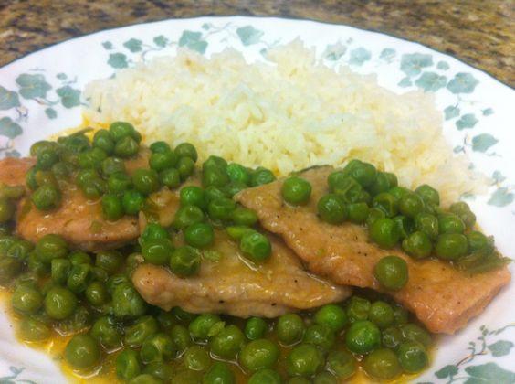 Pork with green peas.