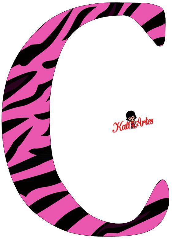 Pink Zebra Free Alphabet. Alfabeto Cebra Rosa.