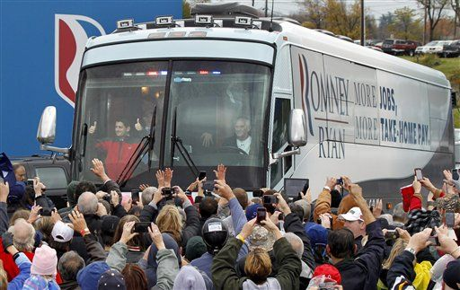 """LEADERSHIP: ROMNEY USES CAMPAIGN BUS TO DELIVER HURRICANE RELIEF.The Romney campaign has canceled campaign events, commercials, and fundraising appeals in states that will be impacted by Hurricane Sandy, and is instead using a campaign bus to help deliver supplies to those who will be impacted by what forecasters are predicting may be a """"storm of the century.""""    ...bless you Mitt Romney!"""