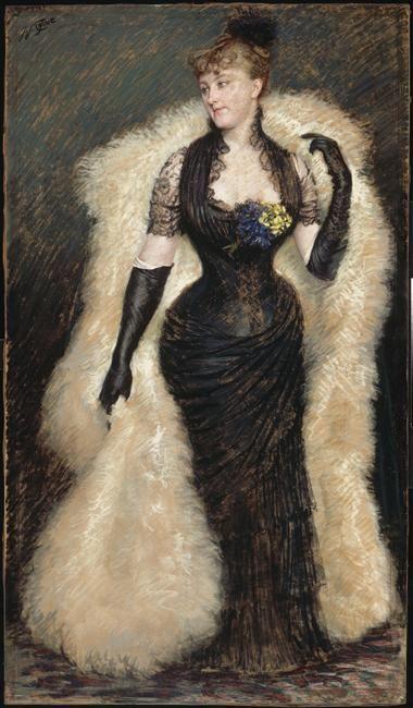 ▴ Artistic Accessories ▴ clothes, jewelry, hats in art - James Tissot | Portrait de madame Baele: