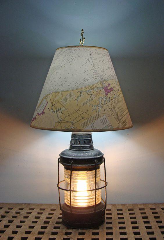 Nautical Table Lamp Re-purposed Anchor Lantern- Nautical Lamps u0026 Lighting