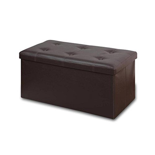 Folding Toy Box Chest with Memory Foam Seat Tufted Faux Leather Trunk Bedroom Ottomans Bench Foot Rest Stool Brown Otto /& Ben 30 Storage Ottoman
