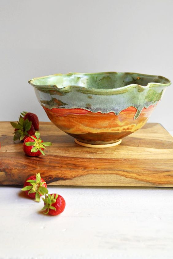 Flower Bowl in Autumn Song from Lee Wolfe Pottery — ready to ship now