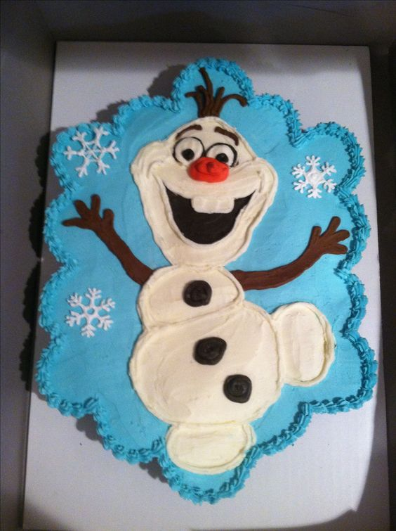 "Olaf from Disney's Frozen. 24 cupcakes made into a ""pull-apart"" cake, decorated with American buttercream.:"