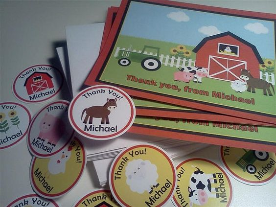 Farm Barnyard Animals Theme Birthday Thank by PartyCelebrations, $17.99
