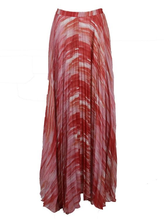 Alice + Olivia womens pleated orange multi print long maxi skirt 6