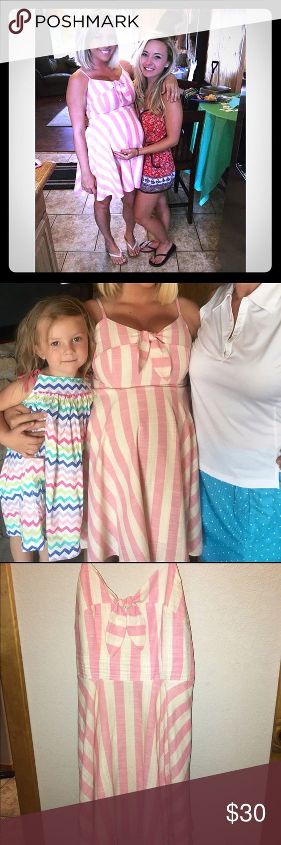 Pale Pink Striped Spaghetti Strap Dress I wore this once for my baby shower. Although it is NOT a maternity dress. Size Medium. Great condition. Love this dress. Dresses Midi