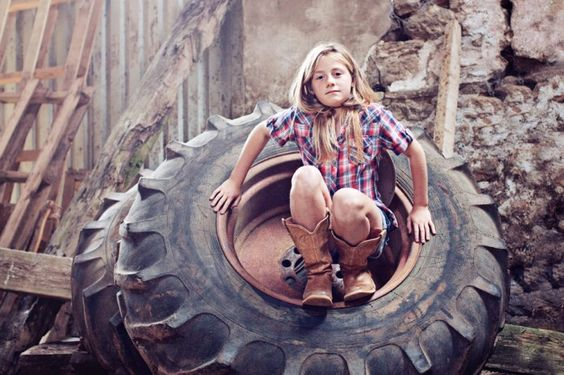 Love the tractor wheel and boots!