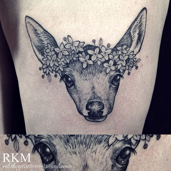 Fawn tattoo with a floral headband by Riki-Kay Middleton.  Tattoo done in etching and pointillism style, all black and grey, very vintage inspired.