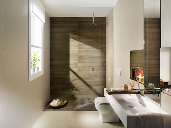 Bathroom. Wood Tiles Bathroom. Beige Stain Wall comes with Chrome Shower Faucet and Varnished Wood Floor Tile