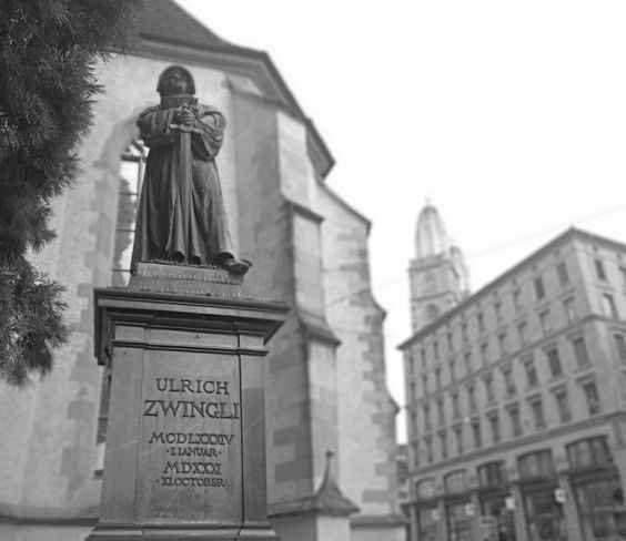 Huldrych Zwingli (auch Huldreych Zwingli oder Huldreich Zwingli; * 1. Januar 1484 in Wildhaus; † 11. Oktober 1531 in Kappel am Albis) war der erste Zürcher Reformator. Aus der Zürcher und der Genfer Reformation ging die reformierte Kirche hervor.  Seine Theologie wurde in der zweiten Generation von Heinrich Bullinger und Johannes Calvin weitergetragen. Foto von Ralf R.