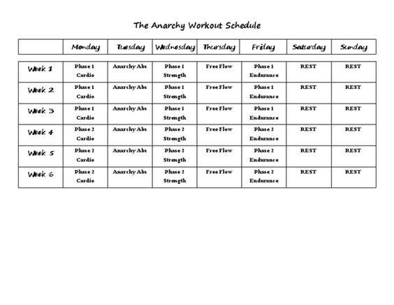 The Anarchy Workout Calendar  Anarchy Workout