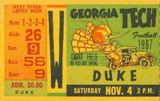 Classic Ticket Poster™ from 47 STRAIGHT™  made from an authentic 1967 Georgia Tech vs. Duke football ticket. Great gift!