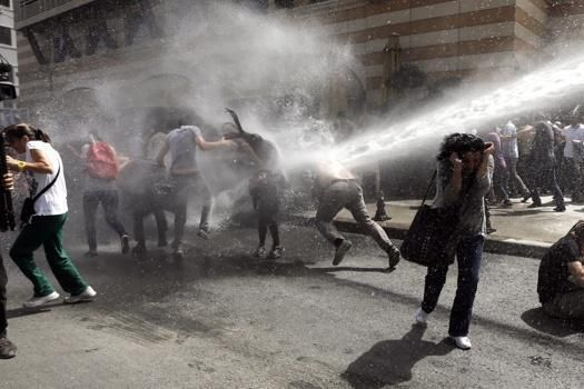 Chaos in Turkey as police use tear gas and water cannons on 10,000 protesters