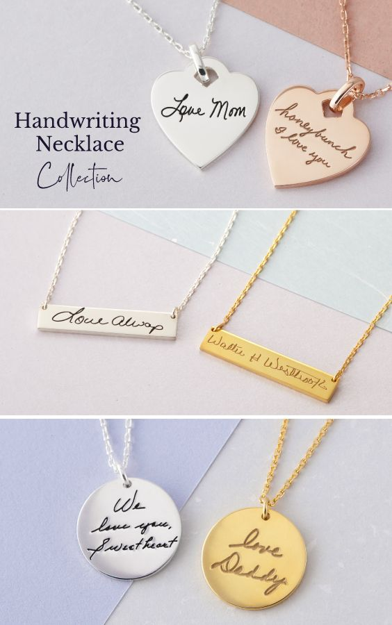 Engraved Handwriting Necklace Personalized Necklace Actual