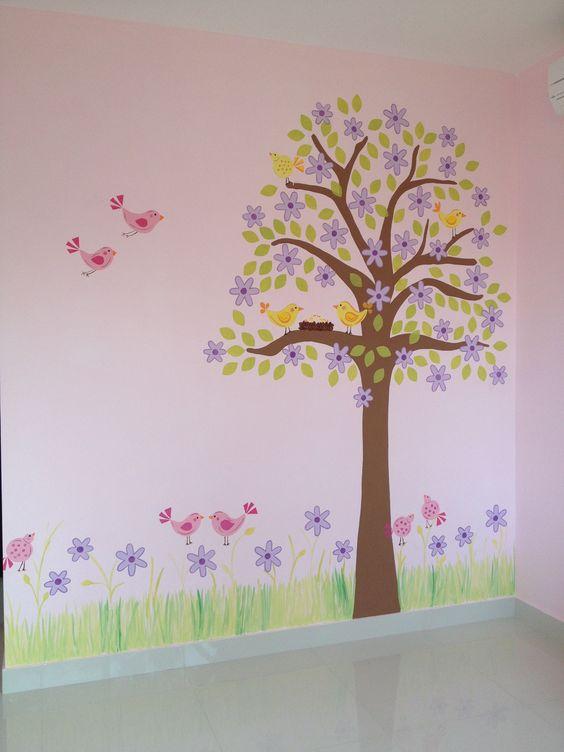 Murales de pared pintados a mano rboles de pajaritos - Murales de pared pintados a mano ...