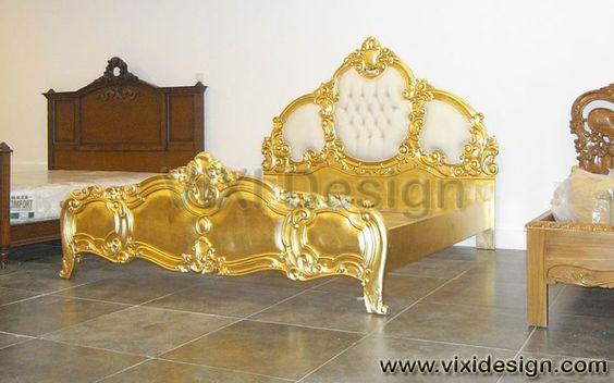 Italian tufted Gold Leaf Furniture Bedroom Luxury Furniture Victorian Modern Classic Contemporary