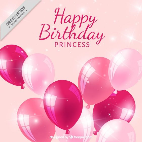 amarelo aniversário realista com balões cor de rosa Vetor grátis