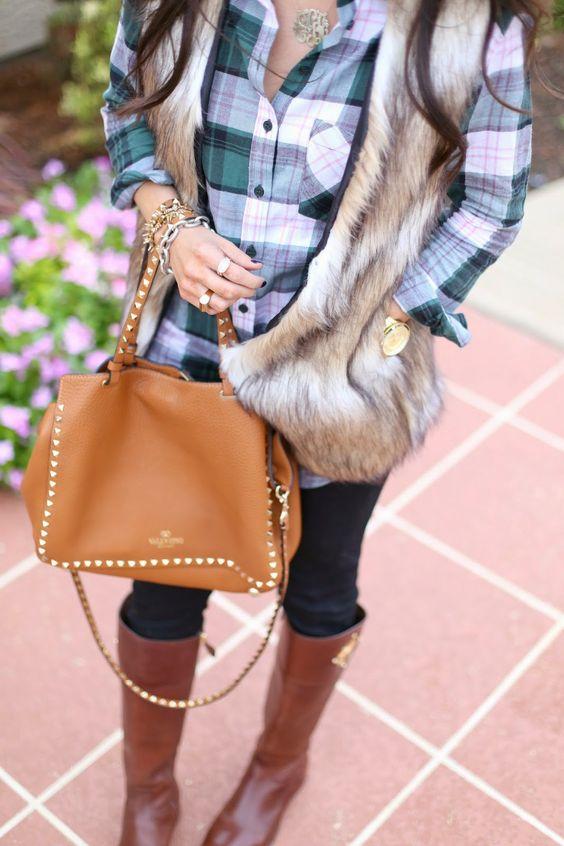 plaid shirt with fur vest & riding boots