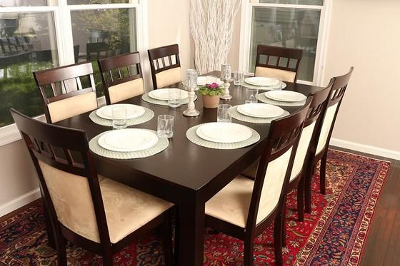 New Century Formal 9 Pieces Butterfly Extension Table 8 Person