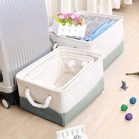 Foldable Fabric Storage Toy Basket Laundry Bin W Dual Handles Gray Fabric Storage Bins Fabric Storage Storage Bins