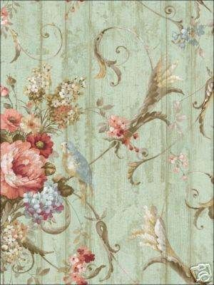 Bird Rose French Cottage Floral Victorian Wallpaper | eBay