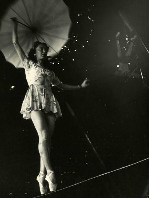 Nina Leen, tightrope walker and line dancer, 1949