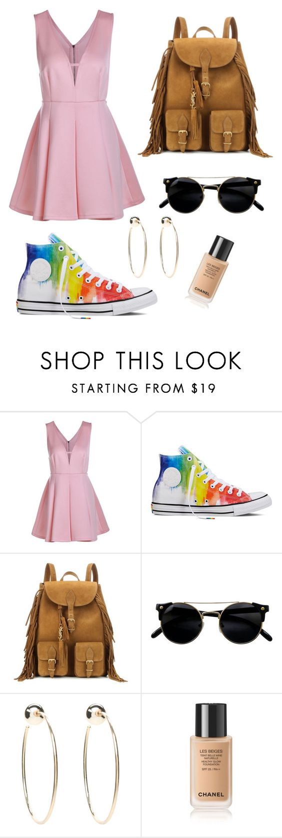 """Plane ride back"" by sydney0325 ❤ liked on Polyvore featuring beauty, Converse, Yves Saint Laurent and Bebe"