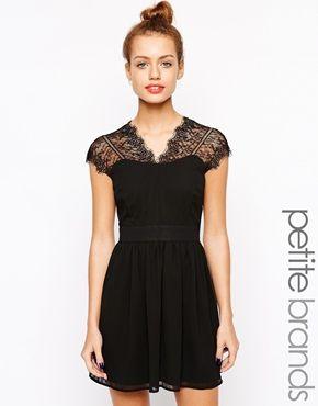 New Look Petite Lace Insert Skater Dress - r o b e  {n o i r e ...