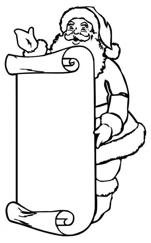 Santa Coloring Page Santas List 001 Santa Coloring Pages