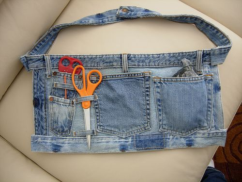 Adorable tool belt style apron from recycled jeans