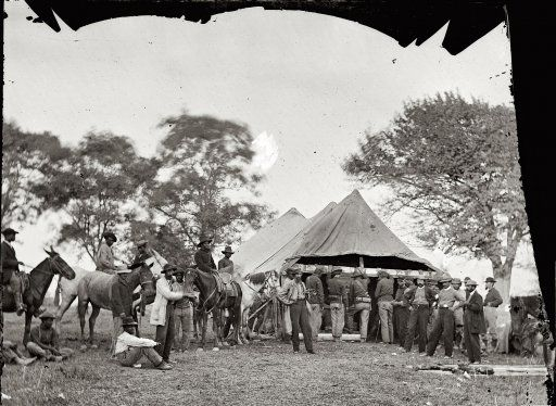 """May 1864. """"Fredericksburg, Va. Soldiers filling canteens."""" Photographs from the main Eastern theater of war, Grant's Wilderness Campaign, May-June 1864. By 1864, Union Cavalry had grown in experience and and hard - fought stature into arguably the best horse soldiers in the world. By this time , Confederates respected them as worthy opponents. Click on the image twice for some awesome details of the photograph."""
