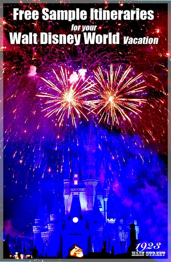 Download free sample Walt Disney World itineraries to use as a guide while your plan your Disney World vacation (from 1923MainStreet.com)  http://1923mainstreet.com/wdwdisneyitinera.html #disneytraveltips #disneyworld