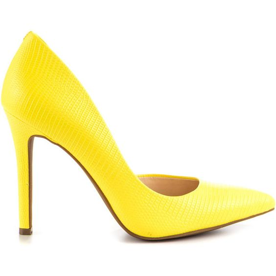 Jessica Simpson Women's Claudette - Sour Lemon Bt Lizard Pt ($76) ❤ liked on Polyvore featuring shoes, pumps, yellow, yellow high heel pumps, yellow shoes, python pumps, jessica simpson shoes and pointed toe high heel pumps