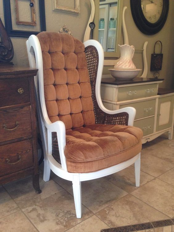 Vintage chair brightened with General Finishes Snow White Milk Paint, and sealed with High Performance Flat Top Coat  www.facebook.com/JensFurnitureRehab