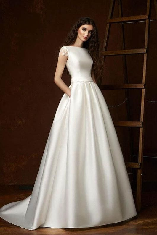 Cap Sleeves Satin Ball Gown Wedding Dresses Ball Gown Wedding Dress Elegant Wedding Dress Wedding Dresses Satin